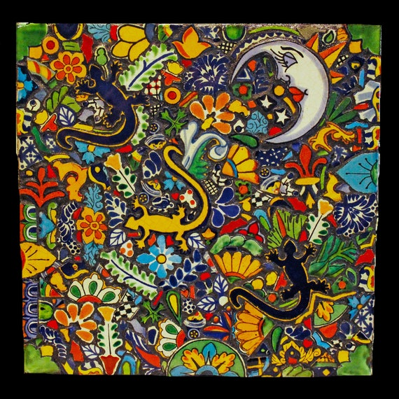 Geckos in the Garden Mosaic Wall Art Made with Talavera Tiles