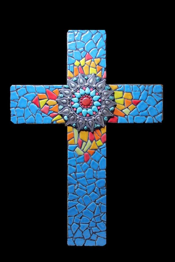 Southwestern Western Mosaic Wall Cross Ready to Ship