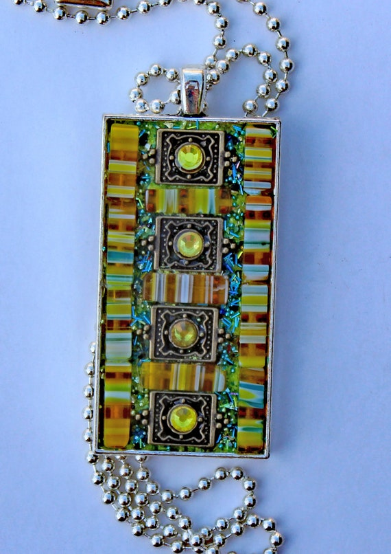Mosaic Pendant Necklace Made with Millefiori and Rhinestones