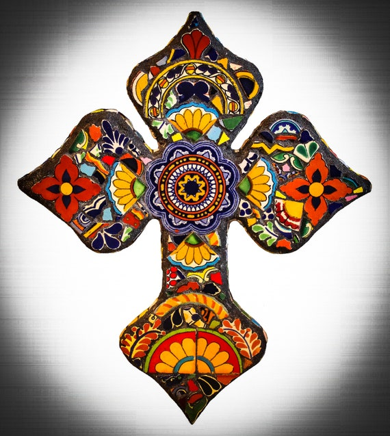 Decorative Mosaic Wall Cross Made with Mexican Talavera Tiles