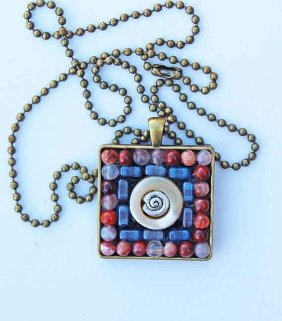 Mother of Pearl and Quartz Mosaic Pendant Necklace