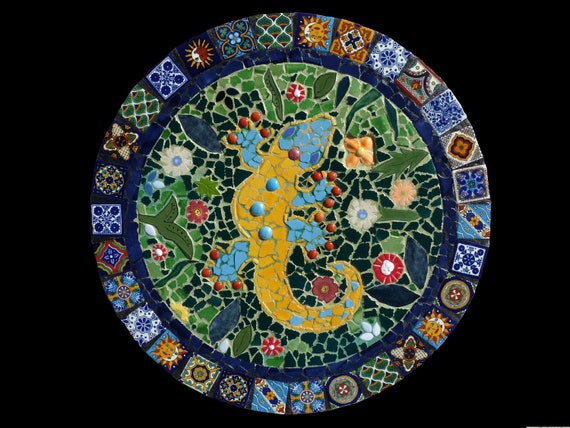 Custom Mosaic Talavera Tile Gecko Wall Hanging, Lazy Susan, or Table Top