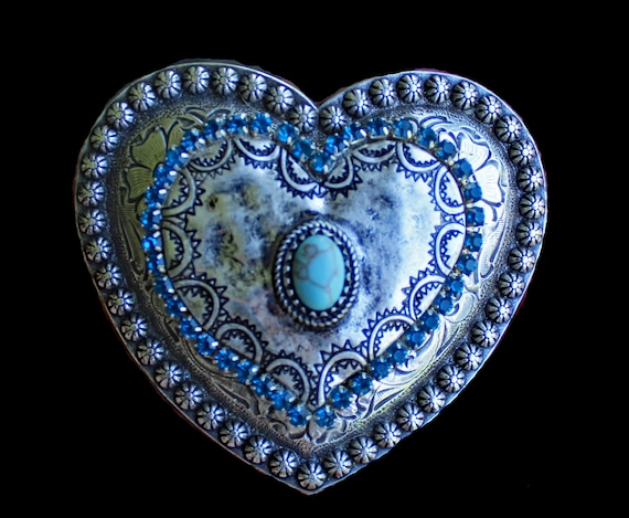 Heart Belt Buckle with Faux Turquoise Stone and Dark Teal Rhinestones