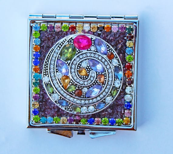 Rhinestone and Garnet Mosaic Square Double Mirror Compact