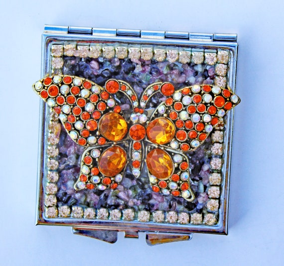 Rhinestone Butterfly and Tourmaline Square Double Mirror Compact