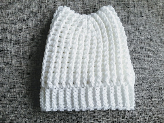 969a201fd61 Baby Hat to fit 0-4 months in White Cat Ears Hat