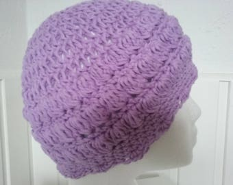 Beanie Hat Crocheted in the colour Lilac Cotton