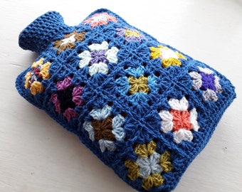 Hot Water Bottle Cover - Cosy in Shades of Lapis Blue