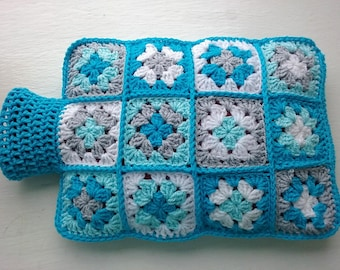 Hot Water Bottle Cover Cosy in Shades of Turquoise