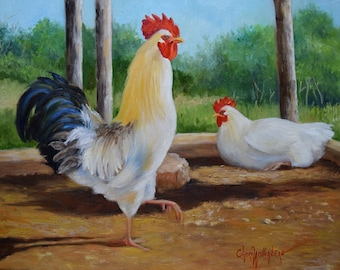 Country Animal Painting,White Rooster And Hen, 14x18 Canvas Original Oil Painting by Cheri Wollenberg