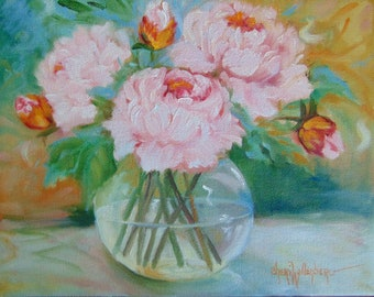 8x10 Still Life Oil Painting Pink Peonies In Clear Round Bowl Original Canvas Oil Painting by Cheri Wollenberg