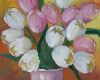 Pink And White Tulip Still Life Painting,Original Oil on Canvas by Cheri Wollenberg