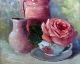 Floral Still Life Painting Pink Rose,Pink Pitcher, Pink Vase 12x12 Canvas Oil Painting by Cheri Wollenberg