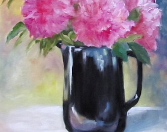 Still Life Painting, Pink Floral Painting,Fine Art Canvas Original by Cheri Wollenberg