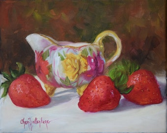 Still Life Painting,Elegant Victorian Creamer And Strawberries, Small Original Oil Painting on Canvas by Cheri Wollenberg