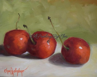 Small 6x8 Original Still Life Oil Painting Three Bright Red Cherries, Canvas Fine Art Painting by Cheri Wollenberg
