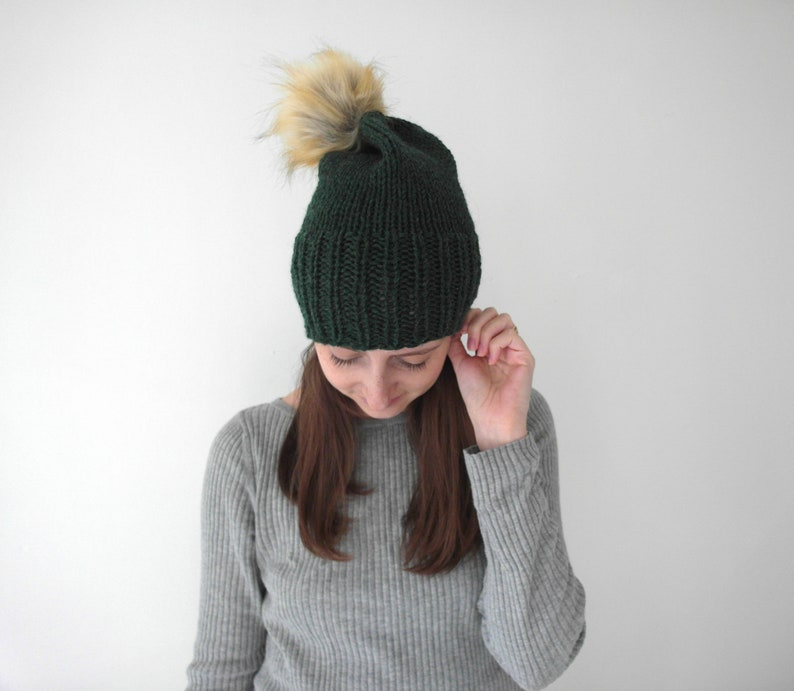 4a4a0fd25 The SLOUCH HAT with faux fur POM / wool hand knitted winter toque pom pom