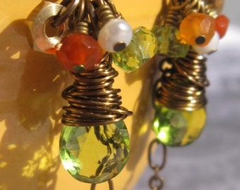 fatdog Toolbox Collection Earrings - TBE212 Peridot and Carnelian