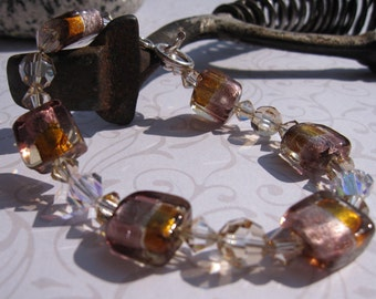 fatdog Bracelet - B1030 Pink and Gold Murano Glass and Crystal