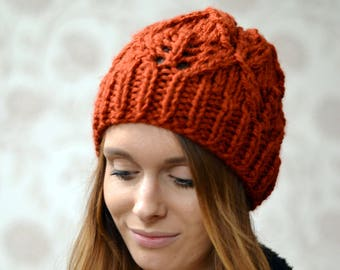 Womens Super Chunky Rust Knitted Beanie Hat, 24 Colours