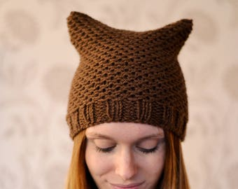 Brown Cat Hat Womens Chunky Knit Beanie