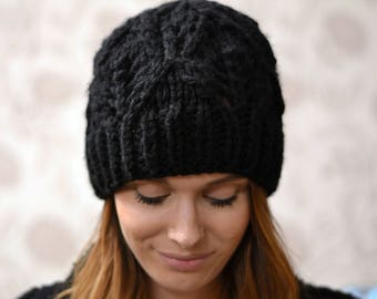 Womens Super Chunky Black Knitted Beanie Hat, 24 Colours