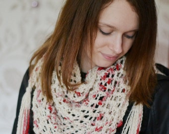 Chunky Knit Cowl,  Cream and Red Knitted Neck Warmer, Valentines Day Accessory