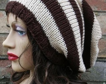 Slouchy Beanie Hat, Tube Hat Tam, Caramel Black Dreads, Fall Hat, Oversized Hat, Mens Slouch Hat, Womens Slouch Hat, Winter Accessory