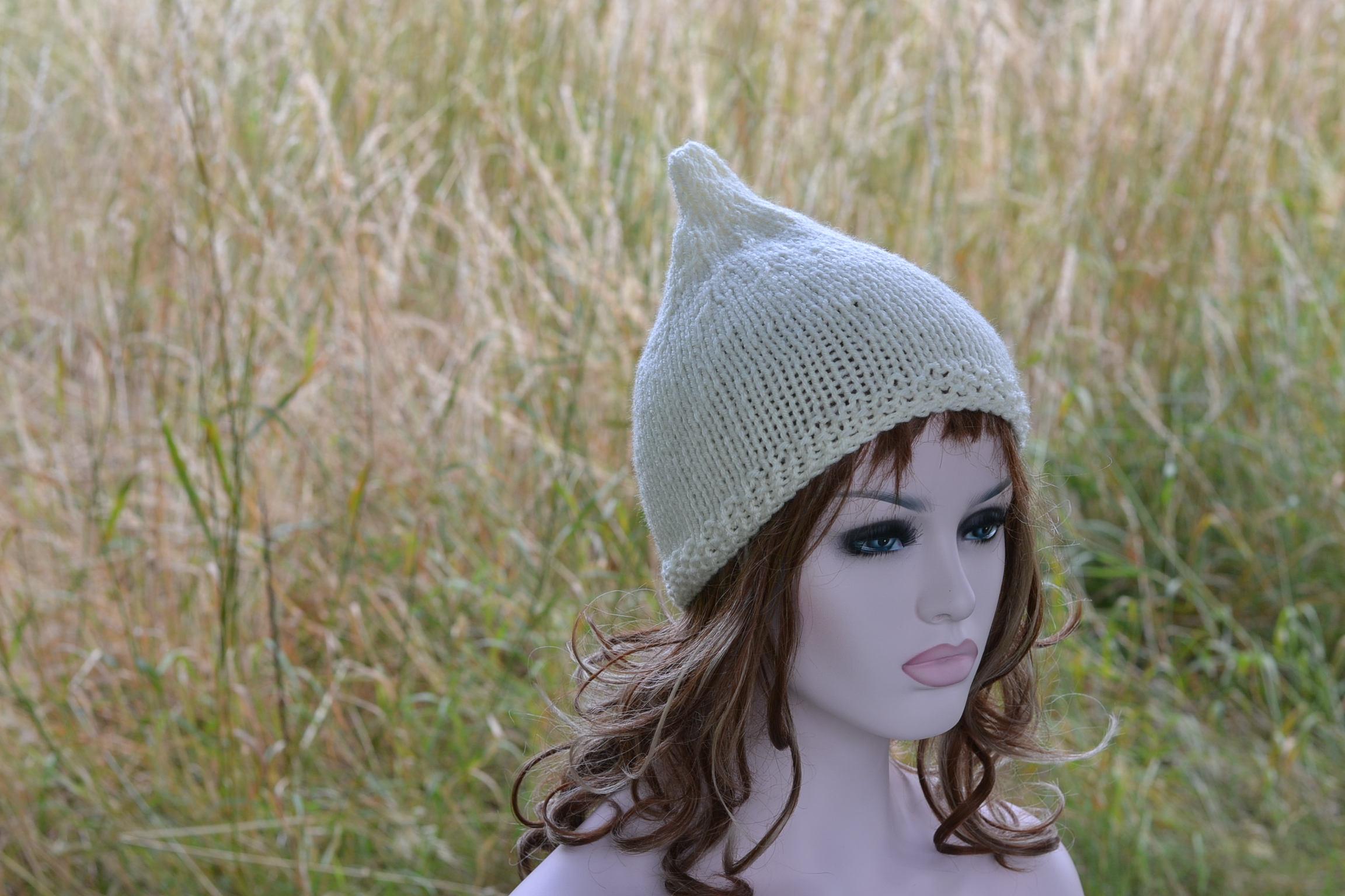 Cream Pixie Hat Womens Cream Beanie Hat Knitted Hat Uk  f6af0242476