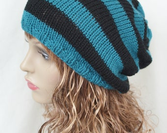 Slouchy Beanie Hat, Tam, Teal Black Dreads, Fall Hat, Oversized Hat, Mens Slouch Hat, Womens Slouch Hat, Winter Accessory