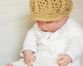 Newborn Hat, Baby  Boys Hat, Driver Newsboy, Crochet Hat, Photo Prop  - Ready to Ship