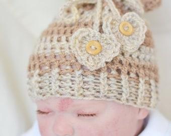 Baby Girl Newborn Sack Hat  Beanie Hat Photo Prop Hat