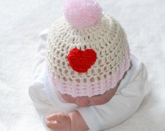 Baby Girls Crochet Pompom Heart Beanie Hat Newborn to 9 Months Sizes Pink and Cream