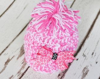 Baby Girls  Hat, Crochet Pompom Hat, Newborn Beanie Hat,Pink and White, Hair Clip