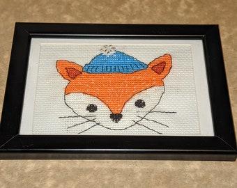 Cross Stitch Gift 'Winter Fox' - In black frame