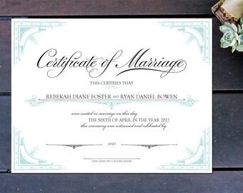 "Old World Elegance Custom Certificate of Marriage - 13"" x 10"""