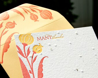 Letterpress Seed Cards (yellow tulip)