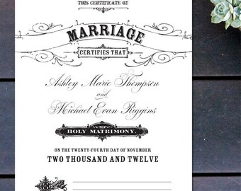Vintage Inspired Marriage Certificate 10 x 13