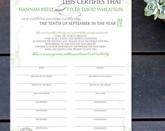 """Made to Order Marriage Certificate with Vintage Details - 16"""" x 12"""""""