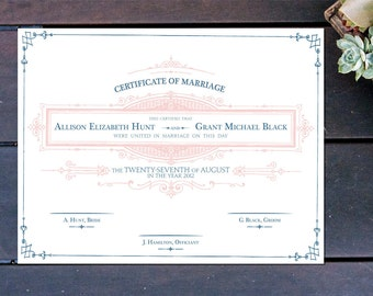 """Apothecary Inspired Custom Marriage Certificate - 13"""" x 10"""""""