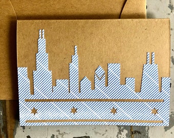 Chicago Skyline Blank Greeting Card Die-Cut Recycled