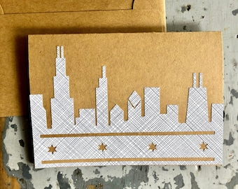 Chicago Skyline Blank Greeting Card Recycled Envelope Pattern
