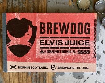 Beer Notebook Recycled Brewdog Elvis Juice Six-Pack Handmade Craft Beer Journal Columbus, Ohio