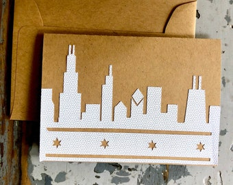 Chicago Skyline Greeting Card Blank Recycled Envelope Pattern