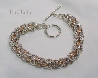 Silver and 14kt Gold-filled Byzantine Bracelet