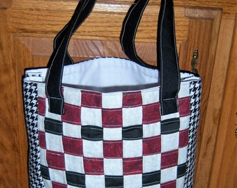 Handmade woven fabric Tote Red