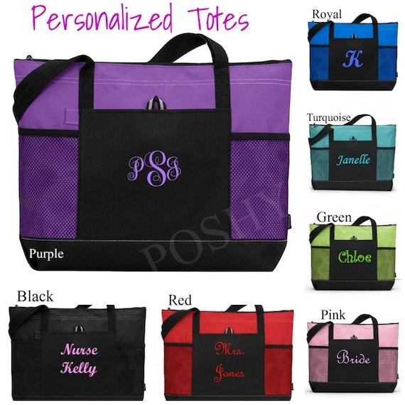 Zip Personalized Monogram Tote Bag Bridesmaid Gift Bride Teacher Nurse Handbag