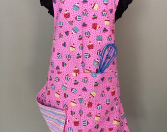 Pink Cupcakes - Child's Reversible Chef Apron