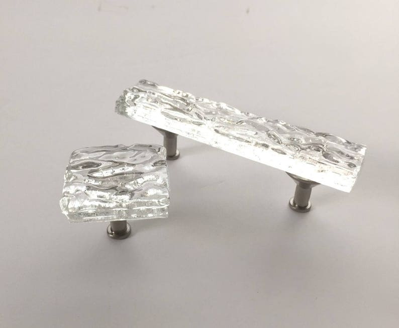 Crystal Clear Glass Cabinet or Drawer Pull in Wave design by image 2