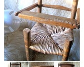 Vintage Doll Highchair Furniture Rustic Ladder Back Woven Wicker Seat Bear Highchair Fair to Good Vintage Doll Furniture Some Wear to Tray